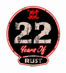Distressed Aged 22 Years Of Rust Motif For Retro Rat Look VW etc. External Vinyl Car Sticker 100x90mm